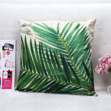 Vintage Printed Pillow Case Cycads Leaf Cushion Cotton Linen Cover Square 45X45CM