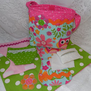 Diaper Bag Set for Dolls, Owl Print, Toy For American Girl's Bitty Baby, Cabbage Patch Baby and More