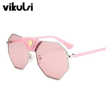 2017 New Italy Oversized Hexagon Sunglasses Women Brand Designer Luxury Gold Clear Glasses Man Gold Retro oculos de sol feminino