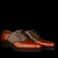 UNIONMADE - Alden - Toland Saddle Oxford in Loden Green and Brown Alpine Grain 99249