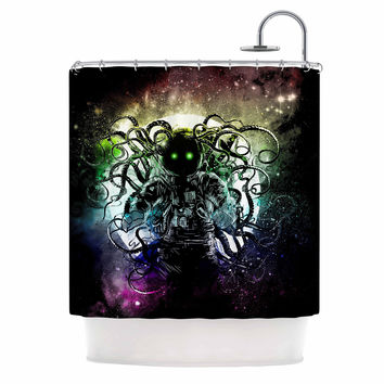 """Frederic Levy-Hadida """"Terror From Deep Space"""" Teal Purple Shower Curtain"""