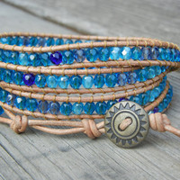 Beachy Blue 4 Wrap Bracelet