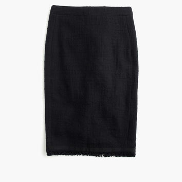 Textured tweed pencil skirt with fringe