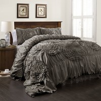 Calliope Rose 3 PC Gray Flower Ruffle Comforter Bedding SET