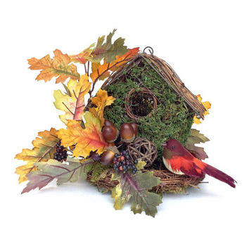 Fall Moss Birdhouse Silk Floral Arrangement