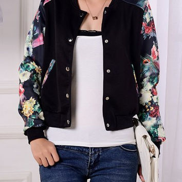 Black Floral Printed Sleeves Buttoned Jacket