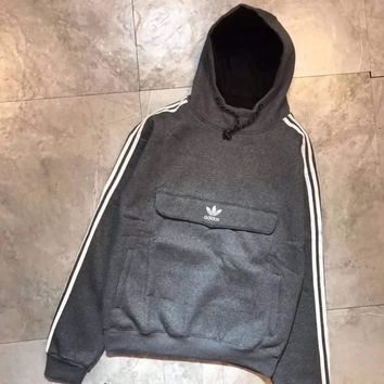 Adidas Fashion Casual Long Sleeve Stripe Hoodie Pullover Sweater For Women Men