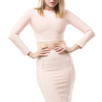 Two Piece Bandage Long Sleeve Crop Top and Midi Skirt - Blush