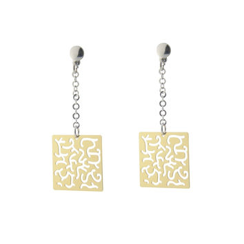Fronay Co Sterling Silver Earring Dangling Filigree Squares Gold Plated