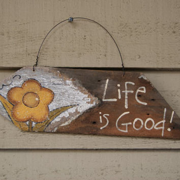 Wood Garden Sign ~Hand Painted Picket Fence Post Sign~