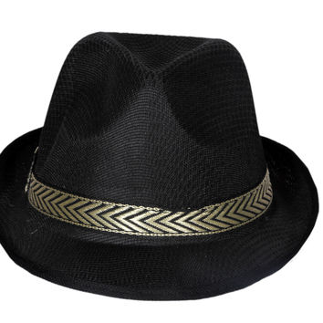 Black High-Crowned Cowboy Hat with Wide-Brim and Gold Band