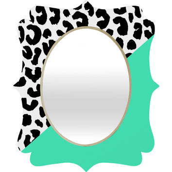 Rebecca Allen Leopard And Mint Quatrefoil Mirror