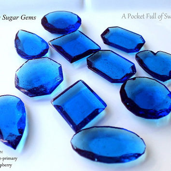 Edible Sugar Gems Jewels LARGE size Barley Sugar Hard Candy 6.5 oz Cake Decor Cupcake Jewels