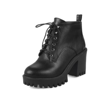 Lace Up Women Ankle Boots Platform High Heels Shoes Woman