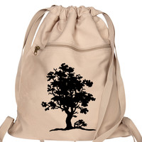 Tree of Life Tan Drawstring Backpack Nature Canvas Book Bag