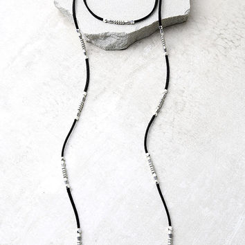 Vanessa Mooney Gwendalyn Silver and Black Wrap Necklace