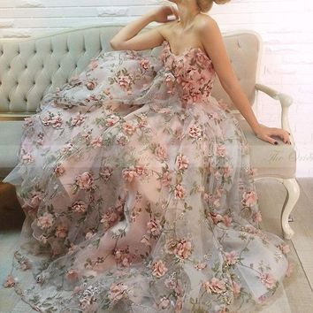 Blush Pink 3D Flora Evening Dress 2017 Long Party Dresses Green Handmade Flowers Strapless Prom Formal Dress Vestido de luxo