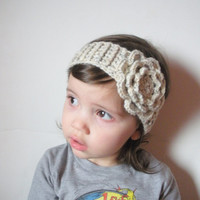 Toddler Girls Crochet Headband in Oatmeal with Large Rose, ready to ship. $12.00