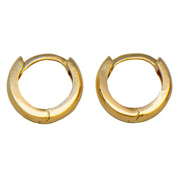 14k Gold Classic Tiny Huggie Hoop Earrings (3mm Thick), 10.8mm