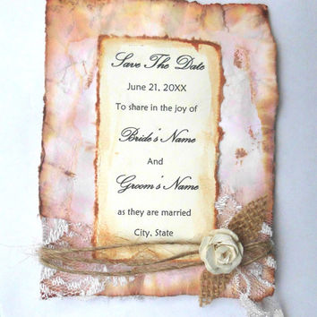 Invitation, Save the Date, Vintage, Shabby Chic, Twine, Flower, neutrals, Burlap, Distressed, Lace, tea stained, Rustic, Flower, Postcard
