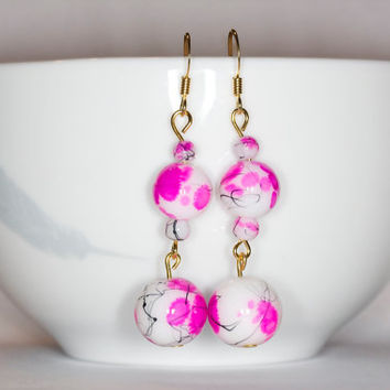 Pink dangle earrings Pink handmade earrings Pink handmade dangle earrings Pink long earrings Long handmade earrings Pink long dangle earring