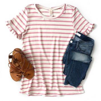 Ivory and Pink Striped Ruffle Sleeve Top