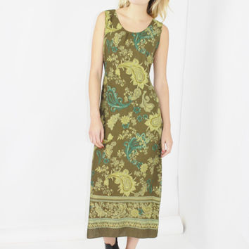 90s green paisley print boho maxi dress tie back simple shift dress small medium