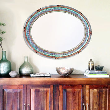 Oval Mosaic Mirror Aqua, Copper, and Gray // Mixed Media Mosaic Mirror // Wall Art