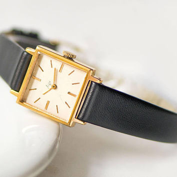 Vintage square women watch, gold plated women watch Ray, retro watch for lady, minimalist girl watch gift jewelry, new premium leather strap