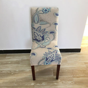 European Style Printing Flower Stretch Dining Chair Cover Wedding Hotel Decor Chair Slipcover