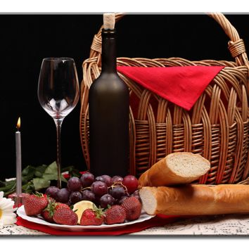 Wine Glass Fruit Flowers Bread And Basket -  1 panel