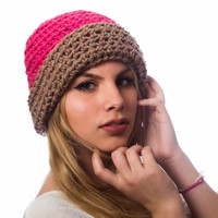 Chunky crocheted women hat hot pink / brown color, winter accessory