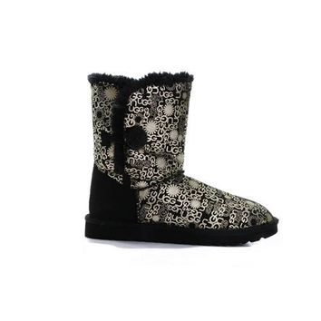 Uggs Boots Cyber Monday Bailey Button Fancy 5809 Black For Women 84 84