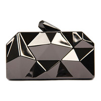 Gray Irregular Geometrical Metallic Box Clutch Bag
