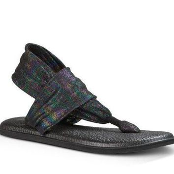 DCCKAB3 Sanuk Yoga Sling 2 Metallic Black Rainbow Sandals