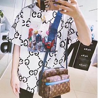 GUCCI Trending Women Stylish Casual Double G Letter Print Short Sleeve T-Shirt Top White I12274-1