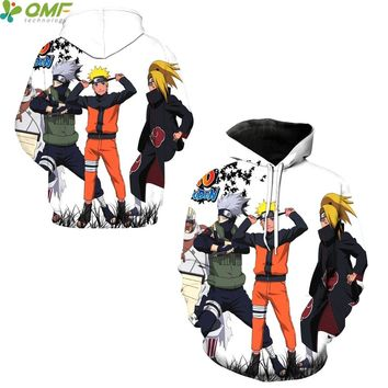 Naruto Uzumaki Skateboarding Hoodies 3D Print Cartoon Naruto Sweatshirt Jumper Hooded Pullover Sportsuit Hoody Men Tracksuits