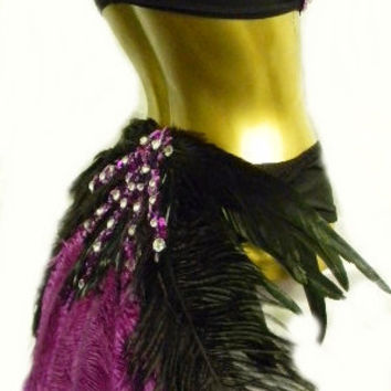 Purple Black Bird Burlesque Costume Bra Booty by sajeeladesign