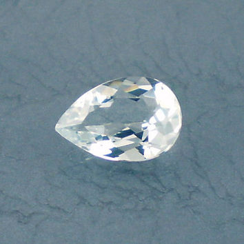 Aquamarine: 1.12ct Blue Green Pear Shape Gemstone, Natural Hand Made Faceted Gem, Loose Precious Beryl Mineral, Crystal Jewelry Supply 10140