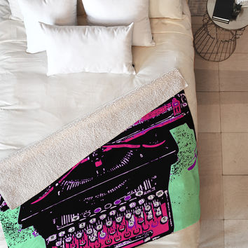 Romi Vega Antique Typewriter Fleece Throw Blanket