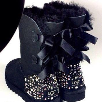 ICIK8X2 EXCLUSIVE - Swarovski Crystal Embellished Bailey Bow Uggs in Sparkly Night (TM) - Blac