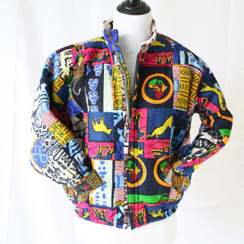 vintage 80s 90s afrocentric patchwork TRIBAL puffer REVERSIBLE jacket size XS S