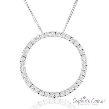 Cubic Zirconia Circle of Life Pendant Necklace in Sterling Silver
