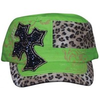 Trenditions Lime Green and Beaded Cross Cadet Ladies Cap