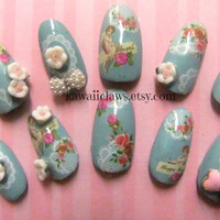 Vintage Victorian Cherubs with Lace and Roses false/fake 3D nails