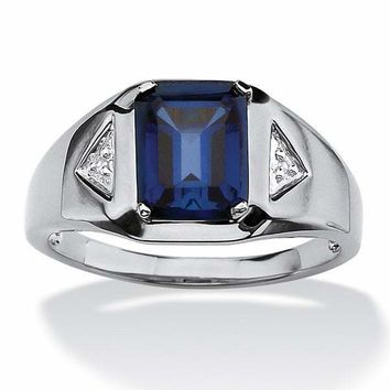 Emerald-Cut Sapphire and Diamond in Platinum over Sterling Silver Ring for Men