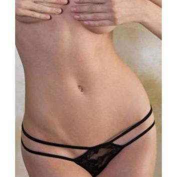 iCollection Lingerie Plus size Lace And Rhinestone Double Strap G-String