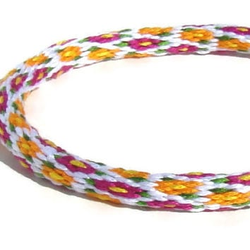 Cherish Collection-- 32 strand, spring flower kumihimo friendship bracelet with or without purchased magnetic clasp- your choice