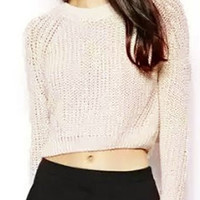 Off-White Cropped Sweater
