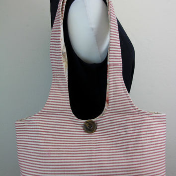 Reversible Cotton Striped and Flower Patterned Shoulder Bag Tote